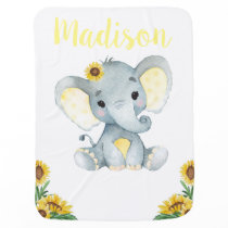 Yellow Gray Elephant Baby Blankets Floral