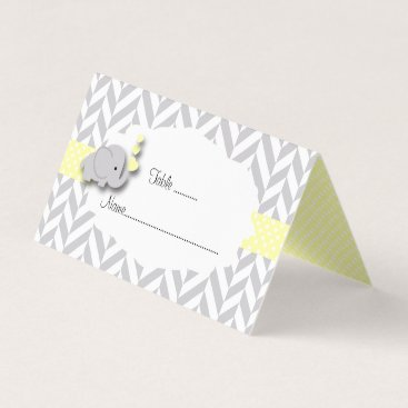 Toddler & Baby themed Yellow & Gray Elephant Baby Shower | Place Cards