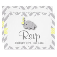 Elephant baby shower yellow gray invitations announcements zazzle yellow gray elephant baby shower rsvp filmwisefo Choice Image