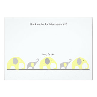 Yellow Gray elephant baby shower thank you note Card