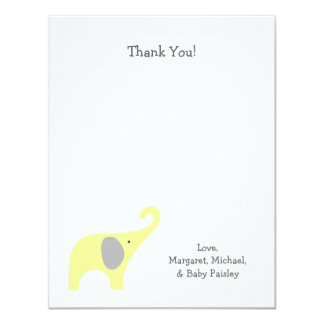 Yellow Gray Elephant Baby Shower Thank You Notes Card