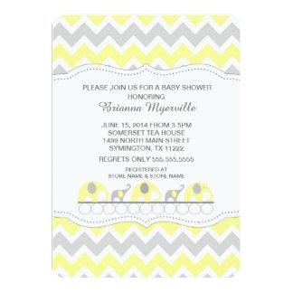 Yellow Gray Elephant Chevron Baby Shower Invites