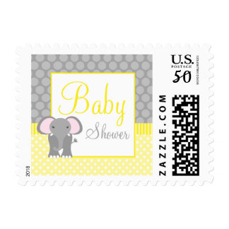 Yellow Gray Elephant Polka Dot Baby Shower Postage
