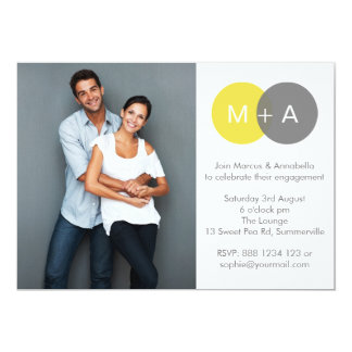 Yellow & Gray Engagement Party Photo Invitation