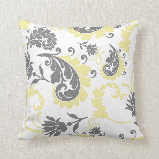 Yellow & Gray Floral Accent Pillow 16x16
