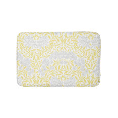 Yellow Gray Floral Damask Pattern Bathroom Mat at Zazzle