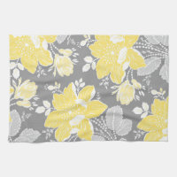 Yellow Gray Floral Kitchen Cloth Towel