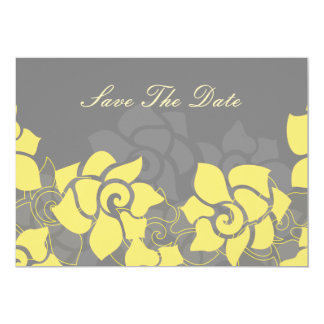 """yellow gray""  floral save the date announcement"