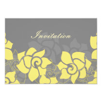 """yellow gray"" floral wedding invitation"