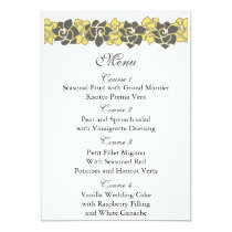 """yellow gray"" floral wedding menu card"
