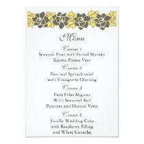 """yellow gray"" floral wedding menu card"
