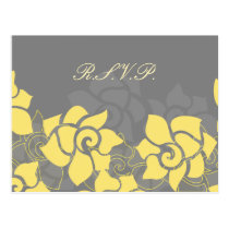 """yellow gray"" floral Wedding rsvp card"