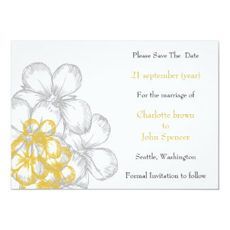 yellow-gray floral wedding save the date card