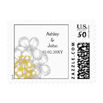 yellow-gray floral wedding save the date postage