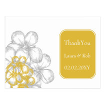yellow-gray floral  wedding Thank You Postcard
