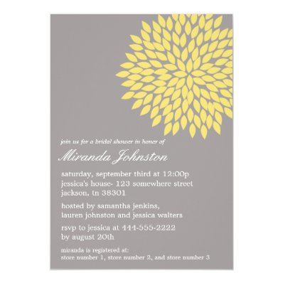 Yellow & Gray Flower Bridal Shower Invitations
