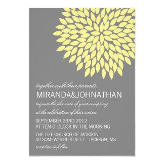 "Yellow & Gray Flower Design Wedding Invitations 5"" X 7"" Invitation Card"