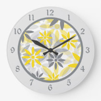 Yellow Gray Flower Graphic Large Clock
