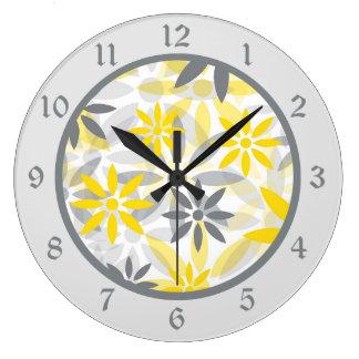 Yellow Gray Flower Graphic Large Clock