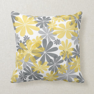 Yellow & Gray Flower Throw Pillow