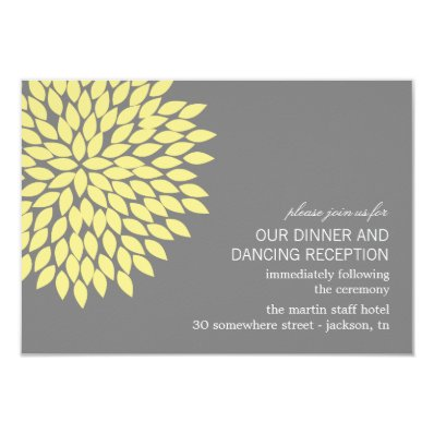 Yellow & Gray Flower Wedding Reception Cards