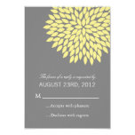 "Yellow & Gray Flower Wedding RSVP Cards Invites 3.5"" X 5"" Invitation Card"