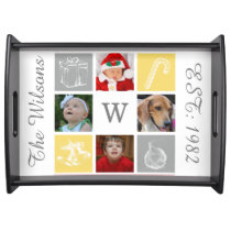 yellow gray four photo collage serving tray