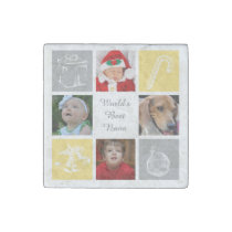 yellow gray four photos collage magnet