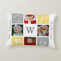 yellow gray four photos collage Mod photo pillow