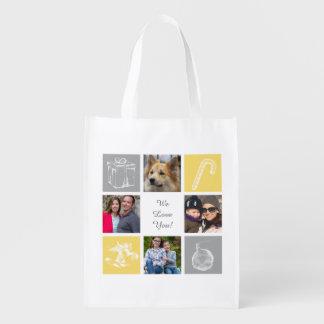 yellow gray four photos collage reusable bag market totes