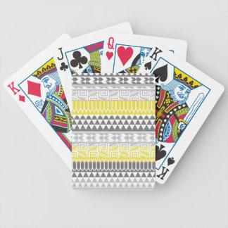 Yellow Gray Geometric Aztec Tribal Print Pattern Bicycle Playing Cards