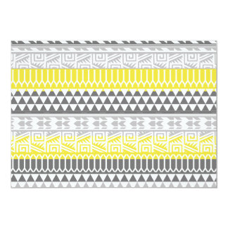 Yellow Gray Geometric Aztec Tribal Print Pattern Card