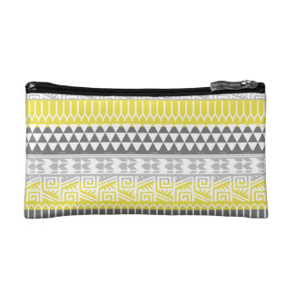 Yellow Gray Geometric Aztec Tribal Print Pattern Cosmetic Bag