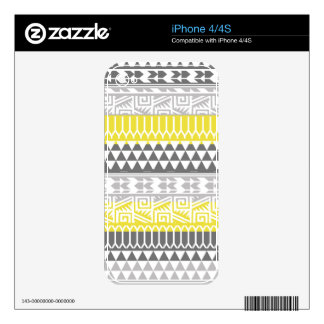 Yellow Gray Geometric Aztec Tribal Print Pattern Decals For iPhone 4S