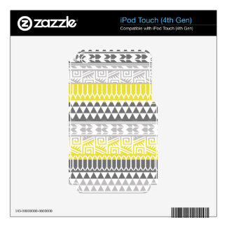 Yellow Gray Geometric Aztec Tribal Print Pattern iPod Touch 4G Skins