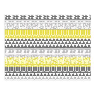Yellow Gray Geometric Aztec Tribal Print Pattern Postcard