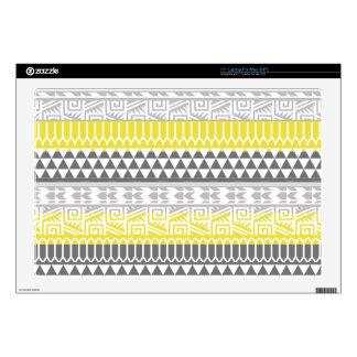 "Yellow Gray Geometric Aztec Tribal Print Pattern Skins For 17"" Laptops"