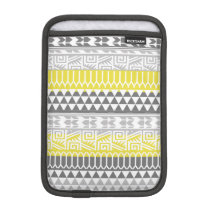 Yellow Gray Geometric Aztec Tribal Print Pattern Sleeve For iPad Mini