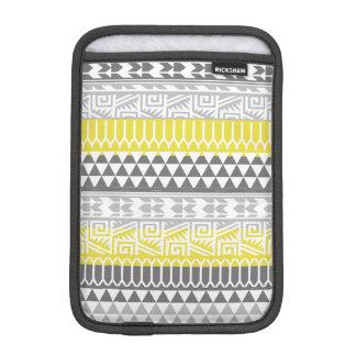 Yellow Gray Geometric Aztec Tribal Print Pattern Sleeve For iPad Mini