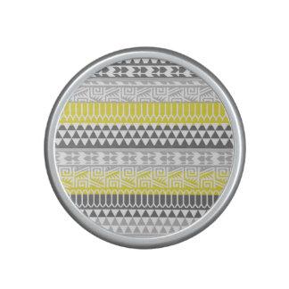 Yellow Gray Geometric Aztec Tribal Print Pattern Speaker