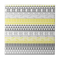 Yellow Gray Geometric Aztec Tribal Print Pattern Tile