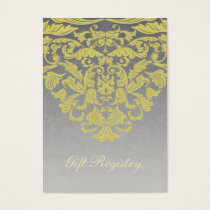 """yellow gray"" gold Gift registry  Cards"