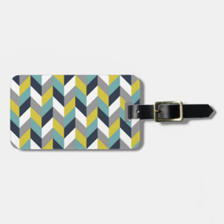 Yellow Gray Green Blue Navy Herringbone Chevron Bag Tags