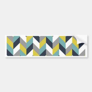 Yellow Gray Green Blue Navy Herringbone Chevron Car Bumper Sticker
