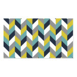 Yellow Gray Green Blue Navy Herringbone Chevron Double-Sided Standard Business Cards (Pack Of 100)