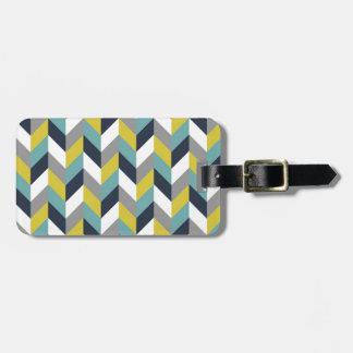 Yellow Gray Green Blue Navy Herringbone Chevron Tag For Luggage