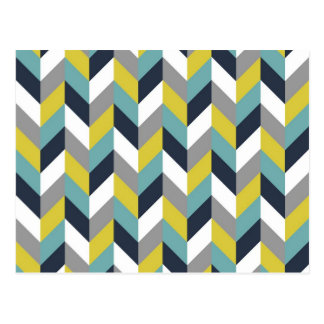 Yellow Gray Green Blue Navy Herringbone Chevron Postcard