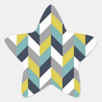 Yellow Gray Green Blue Navy Herringbone Chevron Star Sticker