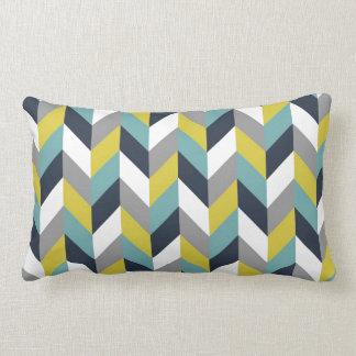 Yellow Gray Green Blue Navy Herringbone Chevron Throw Pillow