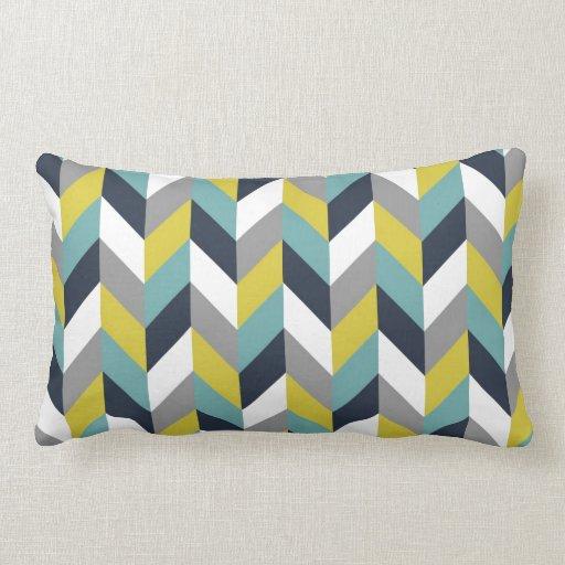 Yellow And Navy Blue Throw Pillows : Yellow Gray Green Blue Navy Herringbone Chevron Throw Pillow Zazzle